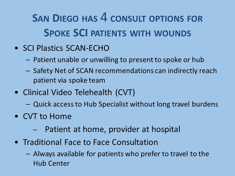 S AN D IEGO HAS 4 CONSULT OPTIONS FOR S POKE SCI PATIENTS WITH WOUNDS SCI Plastics SCAN-ECHO –Patient unable or unwilling to present to spoke or hub –