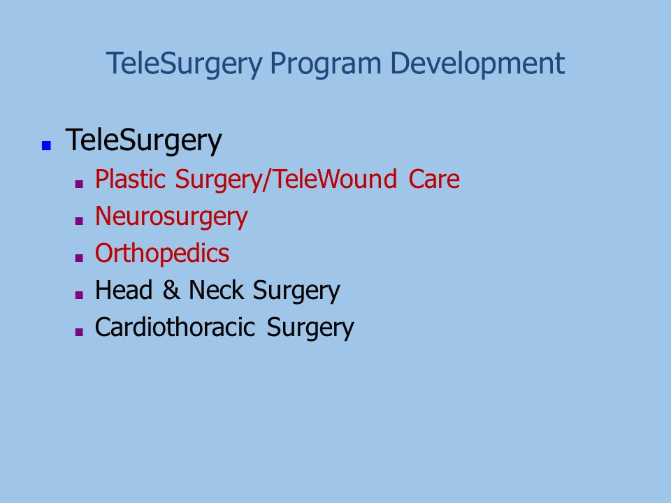 TeleSurgery Program Development ■ TeleSurgery ■ Plastic Surgery/TeleWound Care ■ Neurosurgery ■ Orthopedics ■ Head & Neck Surgery ■ Cardiothoracic Sur
