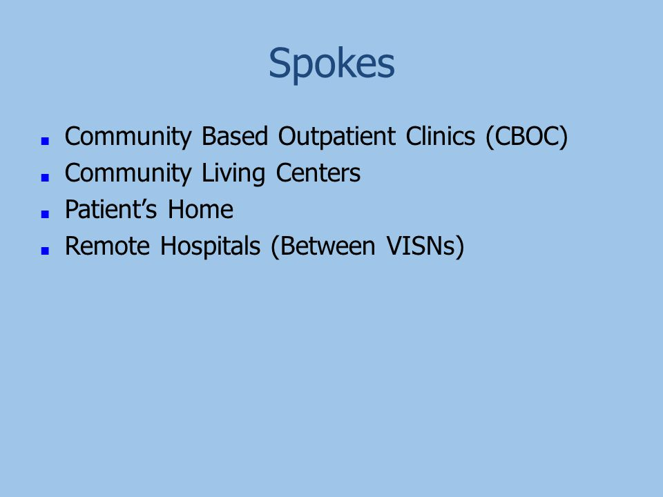 Spokes ■ Community Based Outpatient Clinics (CBOC) ■ Community Living Centers ■ Patient's Home ■ Remote Hospitals (Between VISNs)