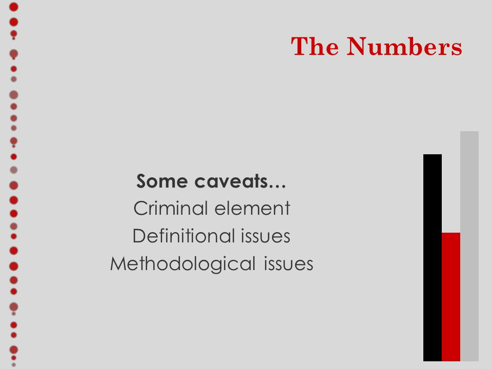 The Numbers Some caveats… Criminal element Definitional issues Methodological issues