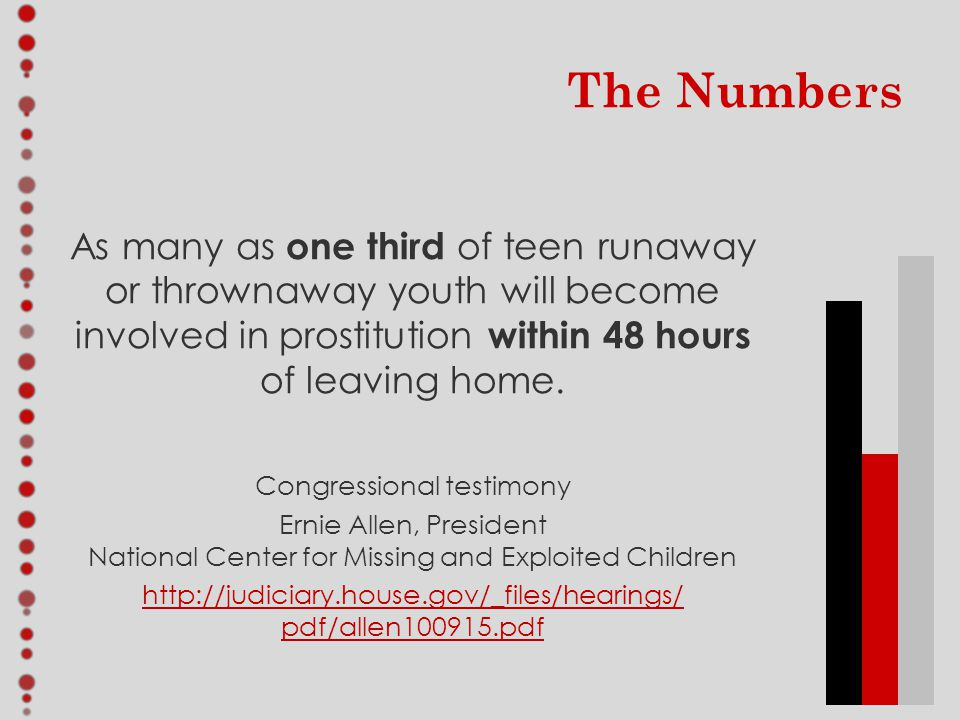 The Numbers As many as one third of teen runaway or thrownaway youth will become involved in prostitution within 48 hours of leaving home.