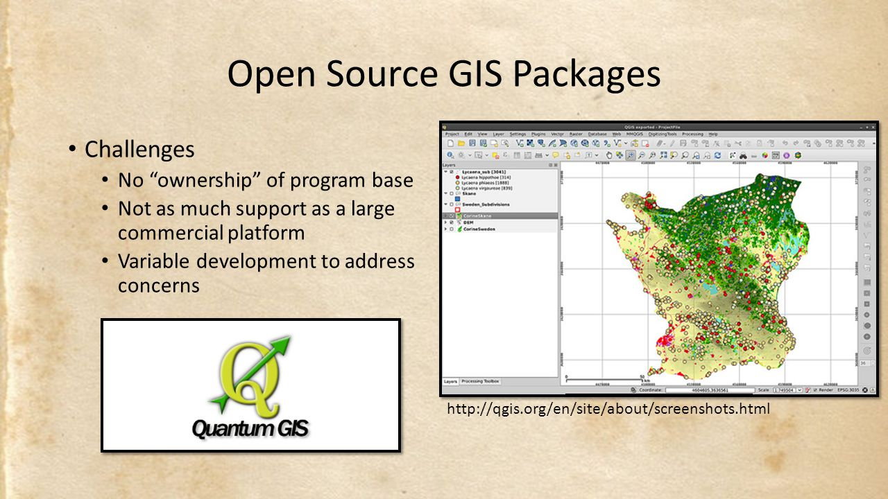 Open Source GIS Packages Challenges No ownership of program base Not as much support as a large commercial platform Variable development to address concerns http://qgis.org/en/site/about/screenshots.html