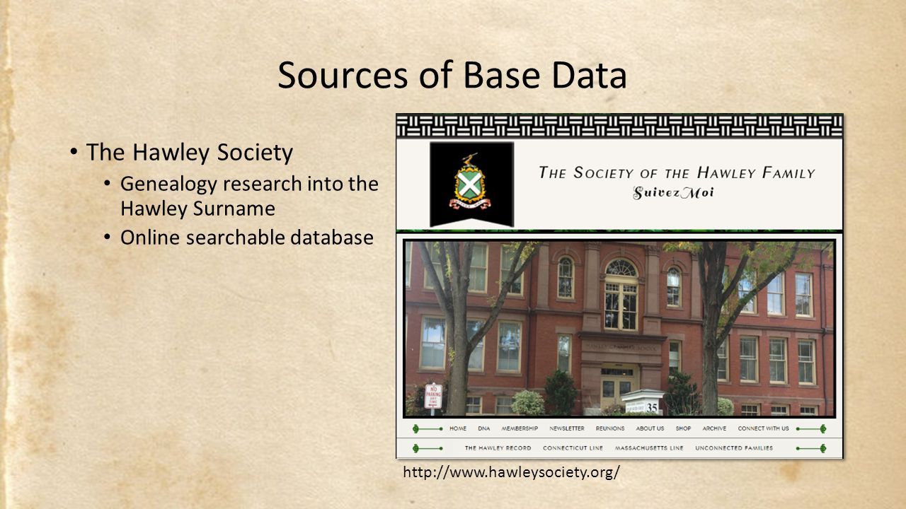 Sources of Base Data The Hawley Society Genealogy research into the Hawley Surname Online searchable database http://www.hawleysociety.org/