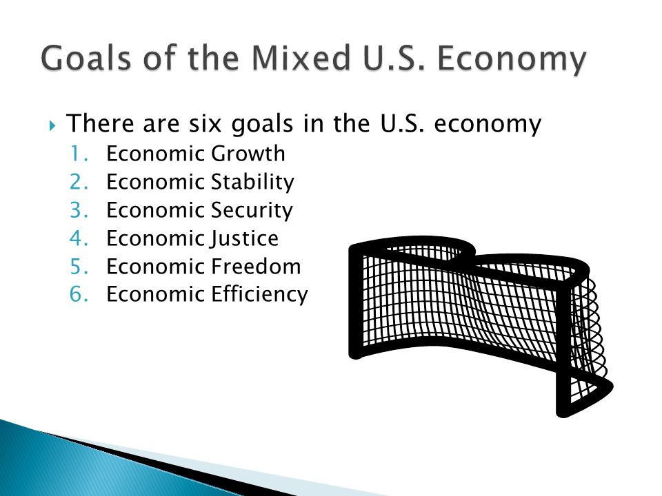  There are six goals in the U.S. economy 1.Economic Growth 2.Economic Stability 3.Economic Security 4.Economic Justice 5.Economic Freedom 6.Economic