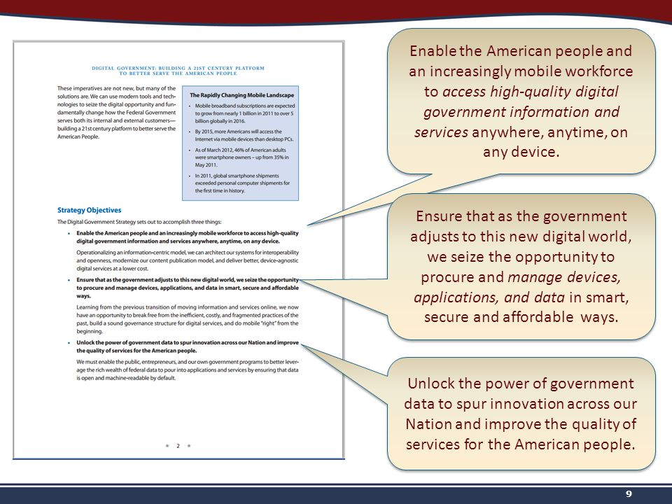 9 Enable the American people and an increasingly mobile workforce to access high-quality digital government information and services anywhere, anytime, on any device.