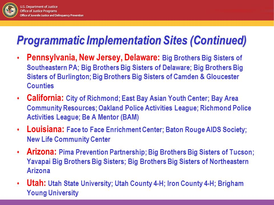 Programmatic Implementation Sites (Continued)  Pennsylvania, New Jersey, Delaware: Big Brothers Big Sisters of Southeastern PA; Big Brothers Big Sisters of Delaware; Big Brothers Big Sisters of Burlington; Big Brothers Big Sisters of Camden & Gloucester Counties  California: City of Richmond; East Bay Asian Youth Center; Bay Area Community Resources; Oakland Police Activities League; Richmond Police Activities League; Be A Mentor (BAM)  Louisiana: Face to Face Enrichment Center; Baton Rouge AIDS Society; New Life Community Center  Arizona: Pima Prevention Partnership; Big Brothers Big Sisters of Tucson; Yavapai Big Brothers Big Sisters; Big Brothers Big Sisters of Northeastern Arizona  Utah: Utah State University; Utah County 4-H; Iron County 4-H; Brigham Young University