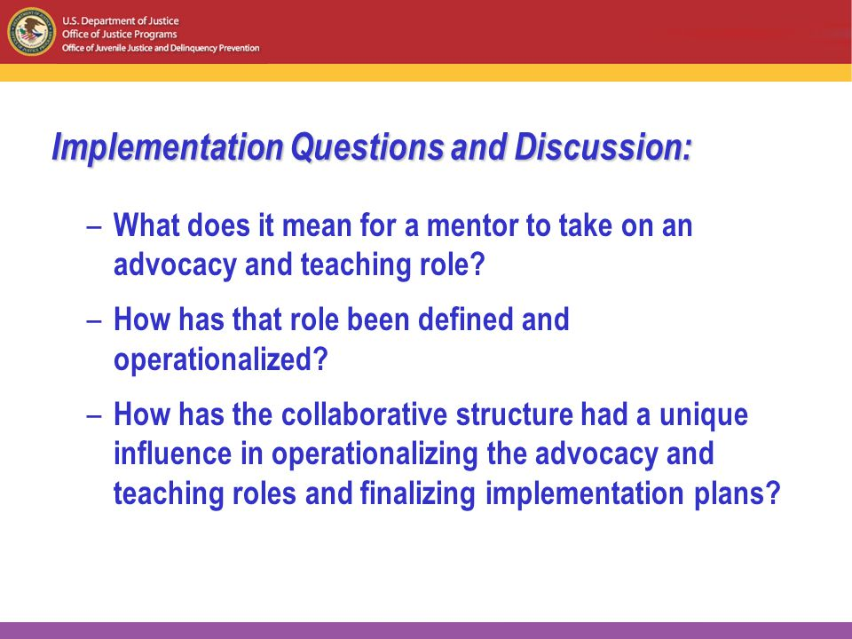 Implementation Questions and Discussion: – What does it mean for a mentor to take on an advocacy and teaching role.