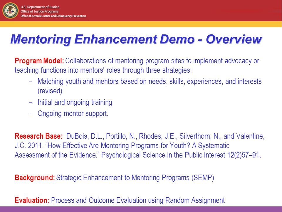 Mentoring Enhancement Demo - Overview Program Model: Collaborations of mentoring program sites to implement advocacy or teaching functions into mentors' roles through three strategies: –Matching youth and mentors based on needs, skills, experiences, and interests (revised) –Initial and ongoing training –Ongoing mentor support.