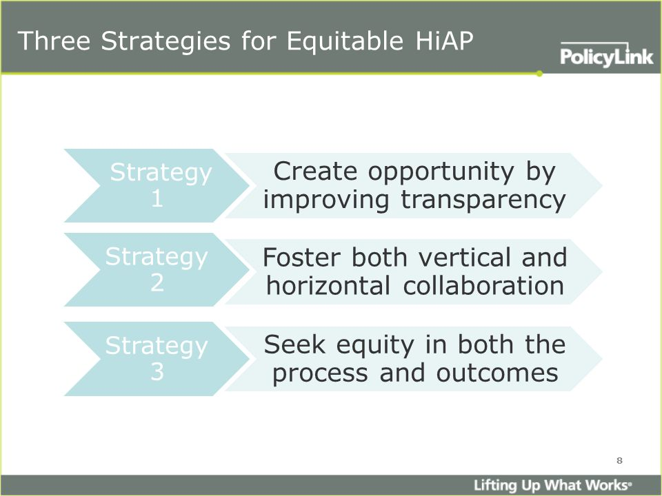 Strategy 1 Create opportunity by improving transparency Strategy 2 Foster both vertical and horizontal collaboration Strategy 3 Seek equity in both the process and outcomes Three Strategies for Equitable HiAP 8