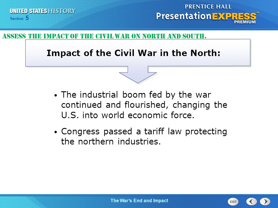 Chapter 25 Section 1 The Cold War Begins Section 5 The War's End and Impact The industrial boom fed by the war continued and flourished, changing the U.S.
