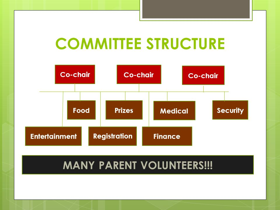 COMMITTEE STRUCTURE Co-chair Entertainment Prizes Co-chair Food Co-chair Medical Security RegistrationFinance MANY PARENT VOLUNTEERS!!!