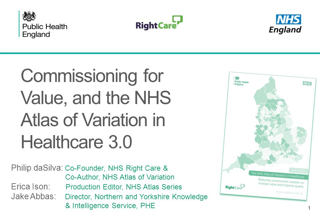 1 Commissioning for Value, and the NHS Atlas of Variation in Healthcare 3.0 Philip daSilva: Co-Founder, NHS Right Care & Co-Author, NHS Atlas of Varia