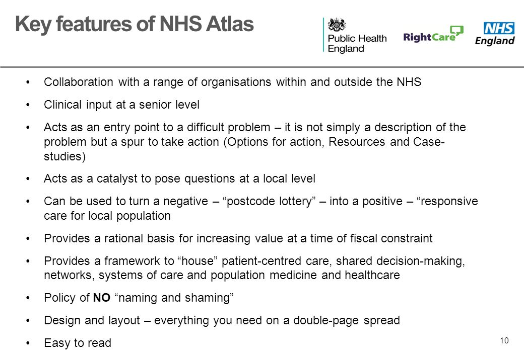 10 Collaboration with a range of organisations within and outside the NHS Clinical input at a senior level Acts as an entry point to a difficult problem – it is not simply a description of the problem but a spur to take action (Options for action, Resources and Case- studies) Acts as a catalyst to pose questions at a local level Can be used to turn a negative – postcode lottery – into a positive – responsive care for local population Provides a rational basis for increasing value at a time of fiscal constraint Provides a framework to house patient-centred care, shared decision-making, networks, systems of care and population medicine and healthcare Policy of NO naming and shaming Design and layout – everything you need on a double-page spread Easy to read Key features of NHS Atlas