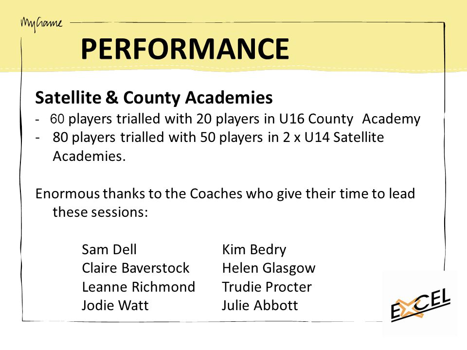 PERFORMANCE Satellite & County Academies - 60 players trialled with 20 players in U16 County Academy -80 players trialled with 50 players in 2 x U14 Satellite Academies.