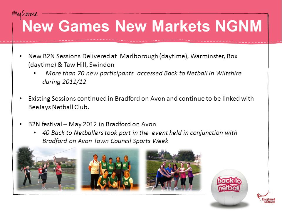 XXXXXXXXXXX 1.0 New B2N Sessions Delivered at Marlborough (daytime), Warminster, Box (daytime) & Taw Hill, Swindon More than 70 new participants accessed Back to Netball in Wiltshire during 2011/12 Existing Sessions continued in Bradford on Avon and continue to be linked with BeeJays Netball Club.