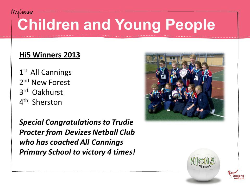 Hi5 Winners 2013 1 st All Cannings 2 nd New Forest 3 rd Oakhurst 4 th Sherston Special Congratulations to Trudie Procter from Devizes Netball Club who has coached All Cannings Primary School to victory 4 times.