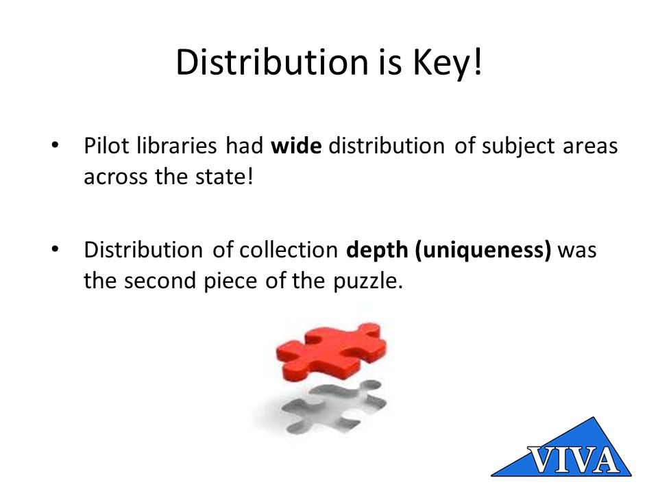 Distribution is Key. Pilot libraries had wide distribution of subject areas across the state.