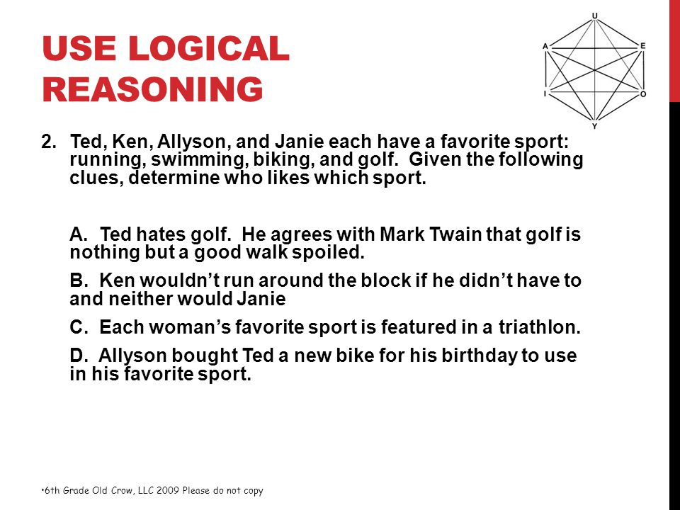 USE LOGICAL REASONING 2.Ted, Ken, Allyson, and Janie each have a favorite sport: running, swimming, biking, and golf. Given the following clues, deter