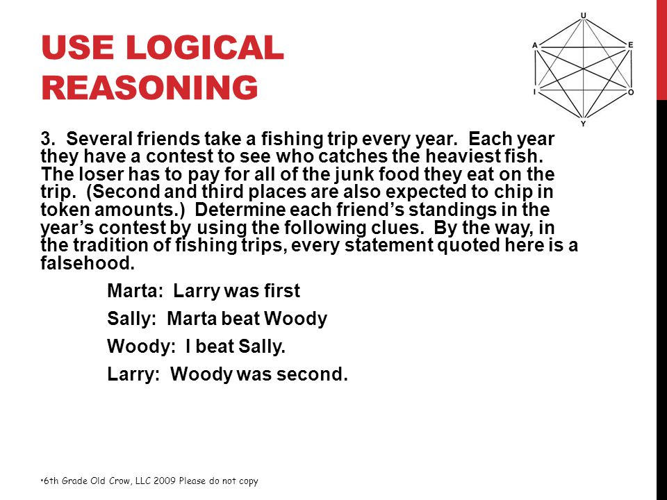 USE LOGICAL REASONING 3. Several friends take a fishing trip every year. Each year they have a contest to see who catches the heaviest fish. The loser