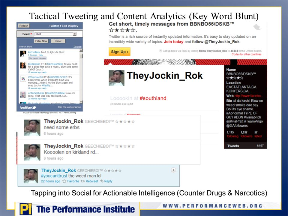 Tactical Tweeting and Content Analytics (Key Word Blunt)