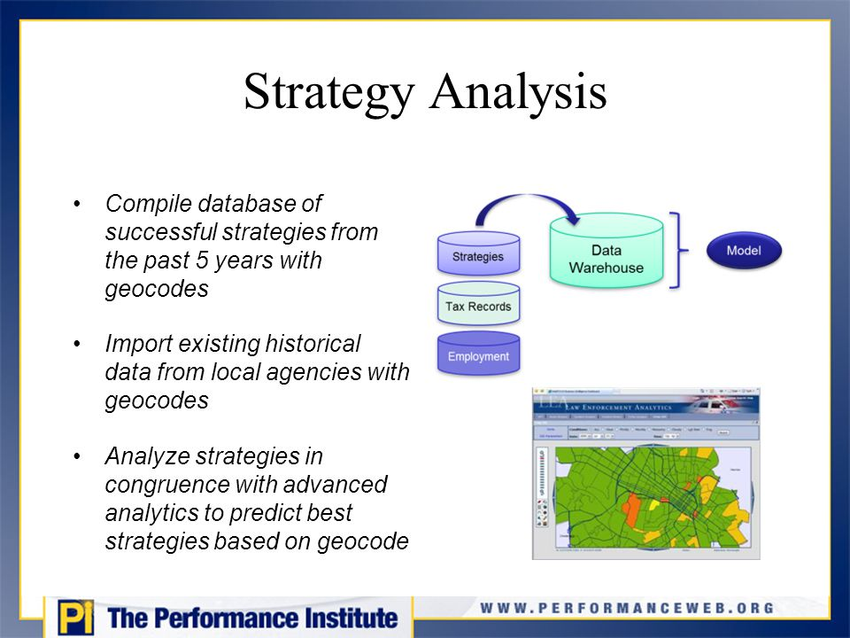 Strategy Analysis Compile database of successful strategies from the past 5 years with geocodes Import existing historical data from local agencies with geocodes Analyze strategies in congruence with advanced analytics to predict best strategies based on geocode