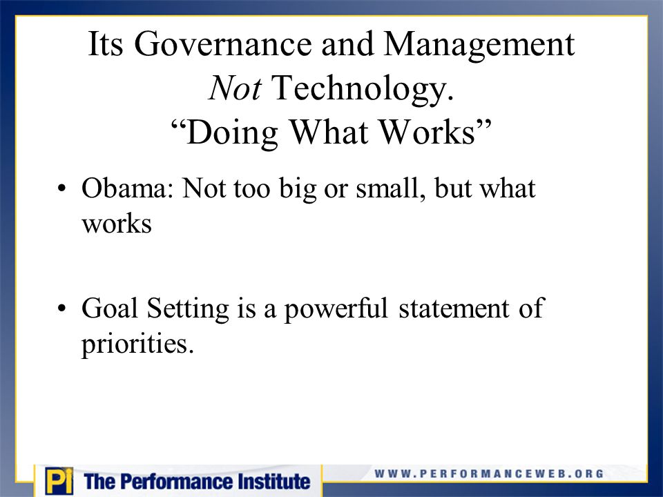Its Governance and Management Not Technology.