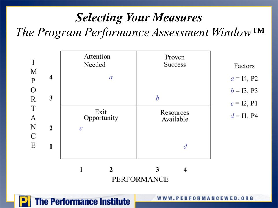 Selecting Your Measures The Program Performance Assessment Window™