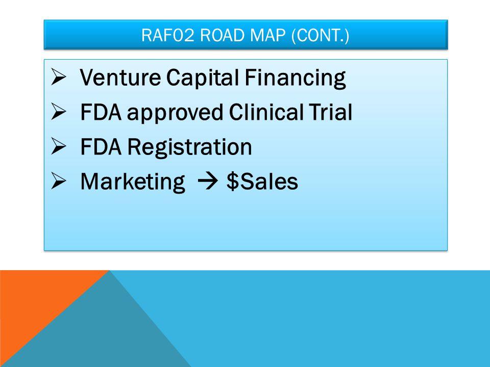 RAF02 ROAD MAP (CONT.)  Venture Capital Financing  FDA approved Clinical Trial  FDA Registration  Marketing  $Sales  Venture Capital Financing  FDA approved Clinical Trial  FDA Registration  Marketing  $Sales
