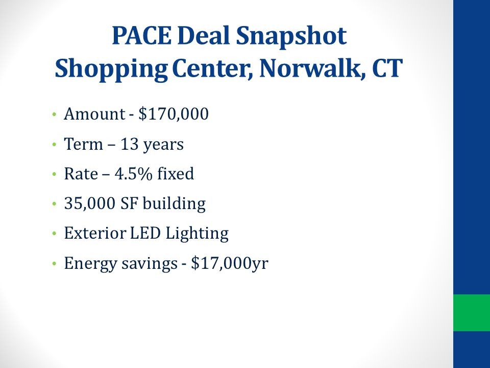 PACE Deal Snapshot Shopping Center, Norwalk, CT Amount - $170,000 Term – 13 years Rate – 4.5% fixed 35,000 SF building Exterior LED Lighting Energy savings - $17,000yr