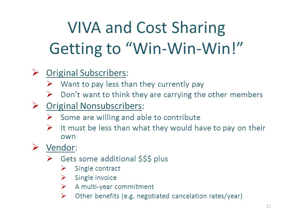 VIVA and Cost Sharing Getting to Win-Win-Win!  Original Subscribers:  Want to pay less than they currently pay  Don't want to think they are carrying the other members  Original Nonsubscribers:  Some are willing and able to contribute  It must be less than what they would have to pay on their own  Vendor:  Gets some additional $$$ plus  Single contract  Single invoice  A multi-year commitment  Other benefits (e.g.