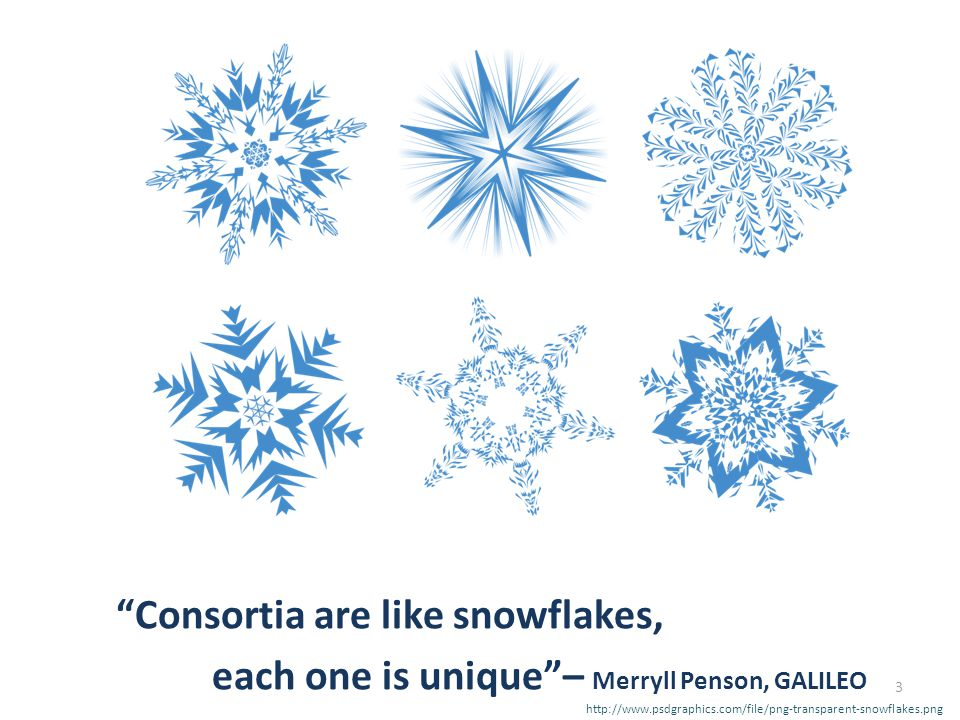 Consortia are like snowflakes, each one is unique – Merryll Penson, GALILEO http://www.psdgraphics.com/file/png-transparent-snowflakes.png 3