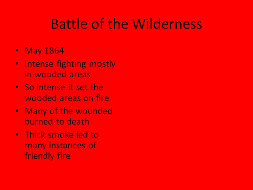 Battle of the Wilderness May 1864 Intense fighting mostly in wooded areas So intense it set the wooded areas on fire Many of the wounded burned to death Thick smoke led to many instances of friendly fire