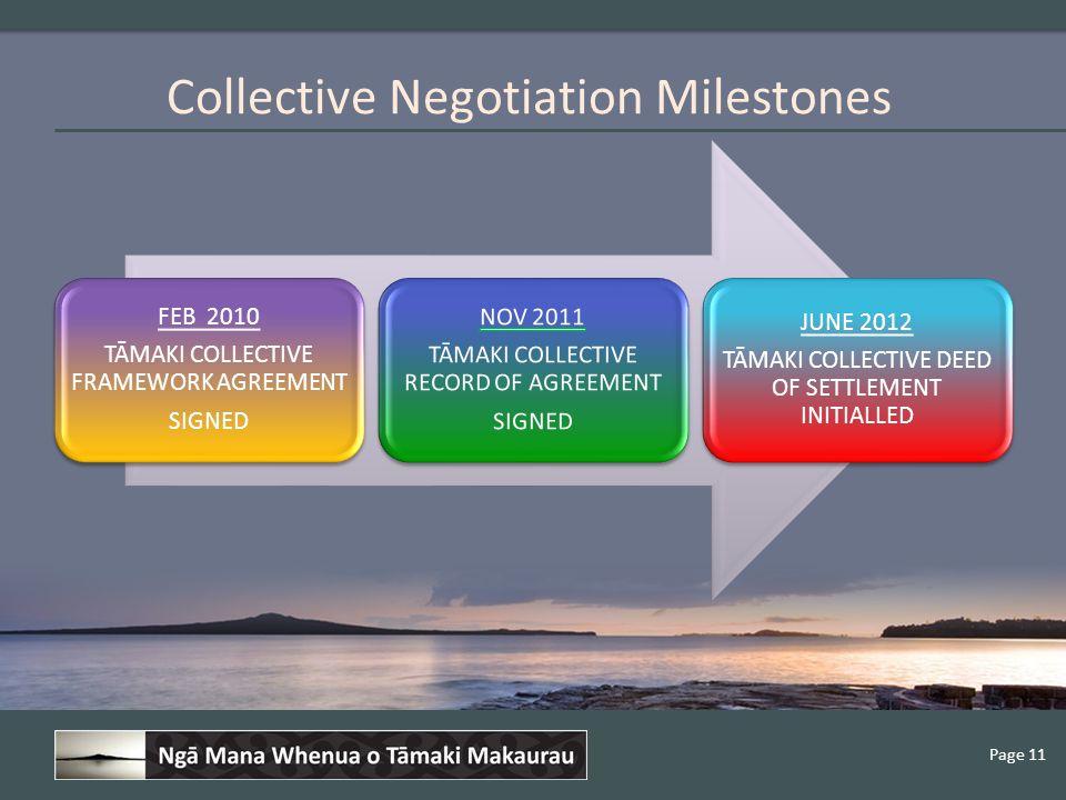 Page 11 Collective Negotiation Milestones FEB 2010 TĀMAKI COLLECTIVE FRAMEWORK AGREEMENT SIGNED JUNE 2012 TĀMAKI COLLECTIVE DEED OF SETTLEMENT INITIALLED