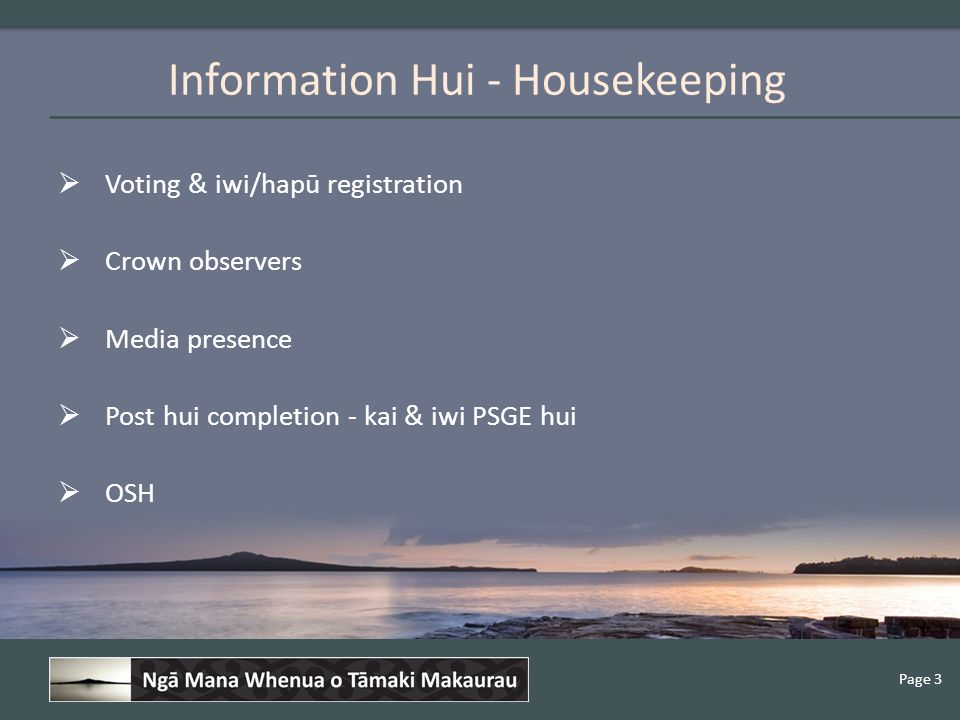 Page 3  Voting & iwi/hapū registration  Crown observers  Media presence  Post hui completion - kai & iwi PSGE hui  OSH Information Hui - Housekeeping