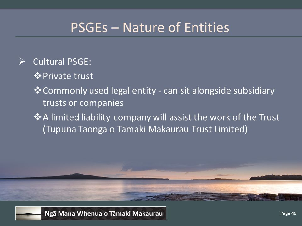 Page 46  Cultural PSGE:  Private trust  Commonly used legal entity - can sit alongside subsidiary trusts or companies  A limited liability company will assist the work of the Trust (Tūpuna Taonga o Tāmaki Makaurau Trust Limited) PSGEs – Nature of Entities