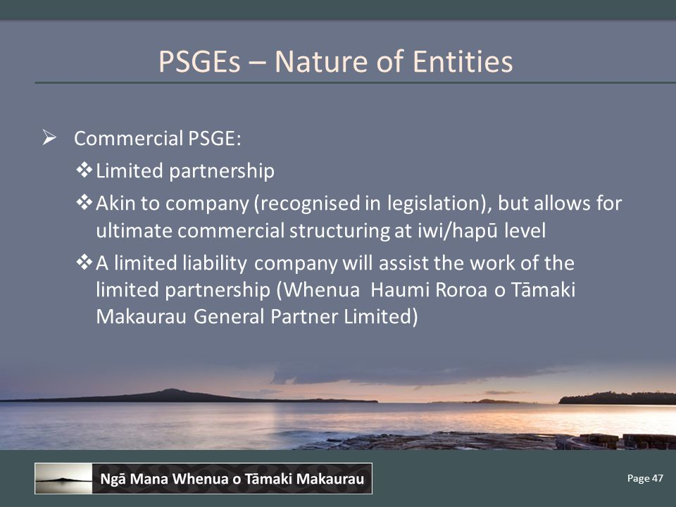 Page 47  Commercial PSGE:  Limited partnership  Akin to company (recognised in legislation), but allows for ultimate commercial structuring at iwi/hapū level  A limited liability company will assist the work of the limited partnership (Whenua Haumi Roroa o Tāmaki Makaurau General Partner Limited) PSGEs – Nature of Entities