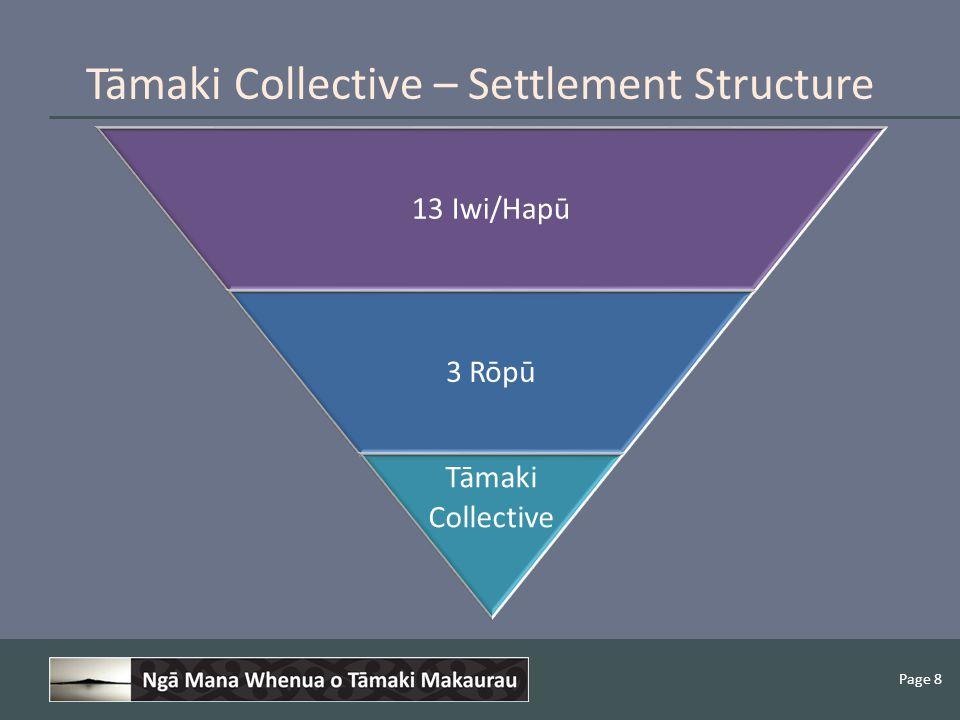 Page 8 Tāmaki Collective – Settlement Structure 13 Iwi/Hapū 3 Rōpū Tāmaki Collective