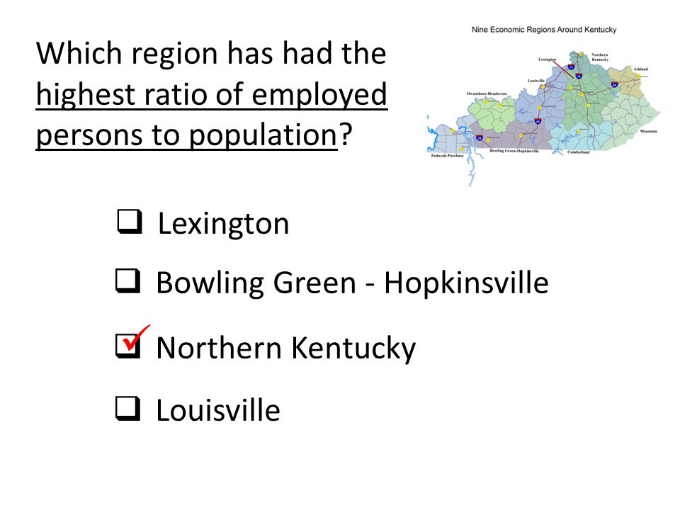Which region has had the highest ratio of employed persons to population?  Lexington  Bowling Green - Hopkinsville  Northern Kentucky  Louisville