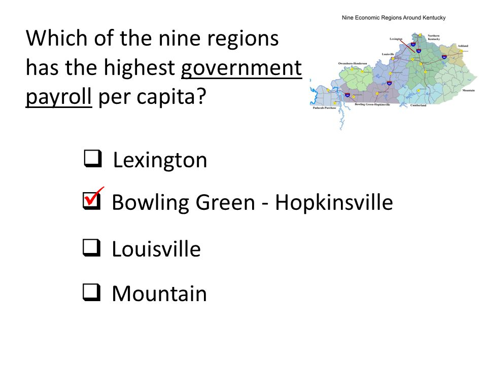 Which of the nine regions has the highest government payroll per capita?  Lexington  Bowling Green - Hopkinsville  Louisville  Mountain
