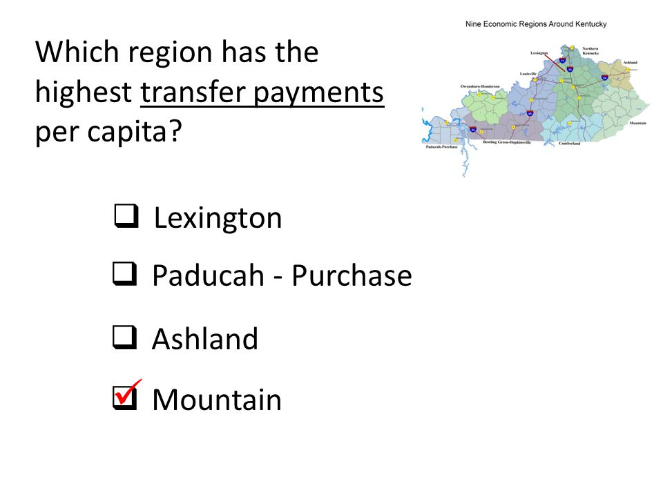 Which region has the highest transfer payments per capita?  Lexington  Paducah - Purchase  Ashland  Mountain