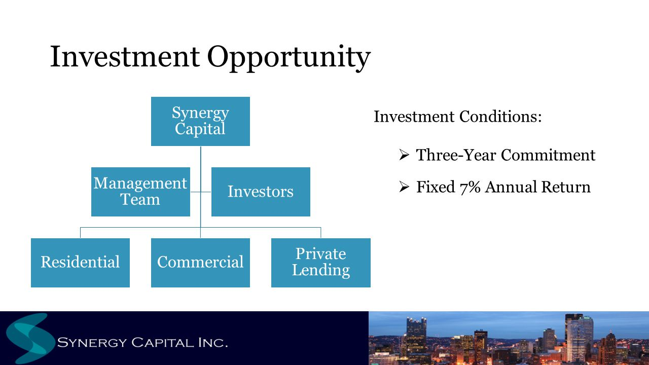 Investment Opportunity Synergy Capital ResidentialCommercial Private Lending Management Team Investors Investment Conditions:  Three-Year Commitment  Fixed 7% Annual Return