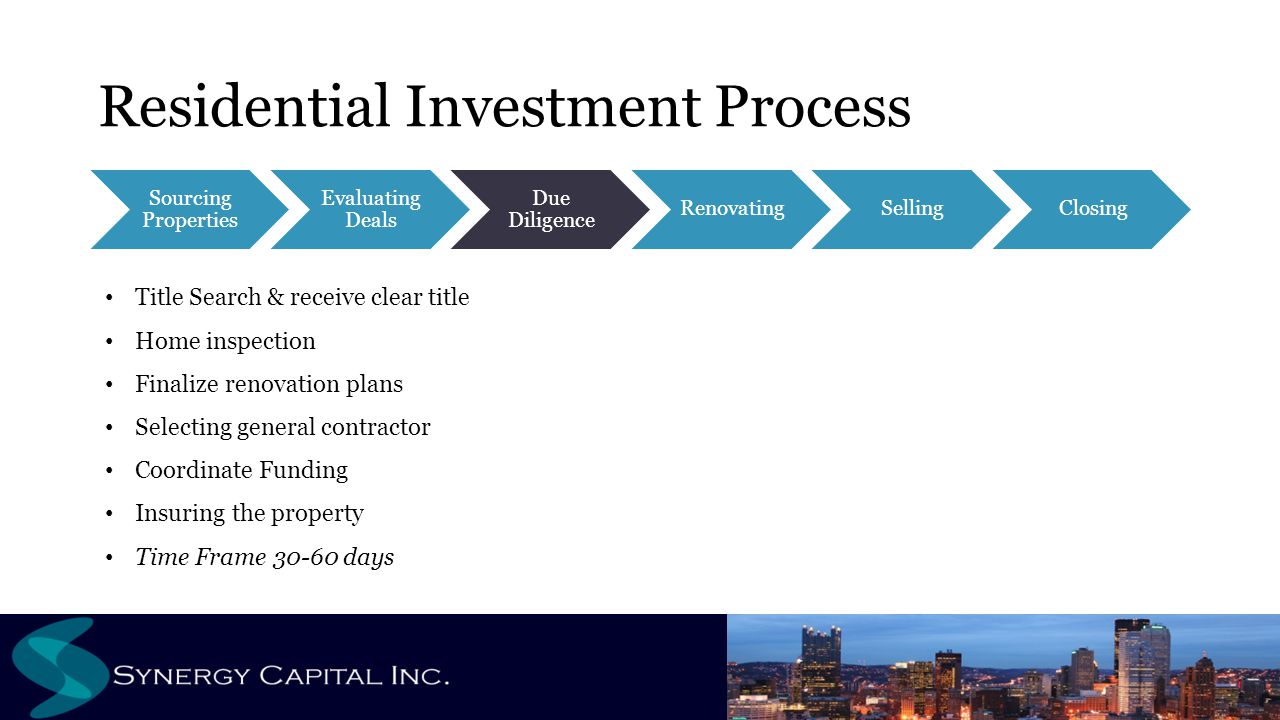 Residential Investment Process Sourcing Properties Evaluating Deals Due Diligence RenovatingSellingClosing Title Search & receive clear title Home ins