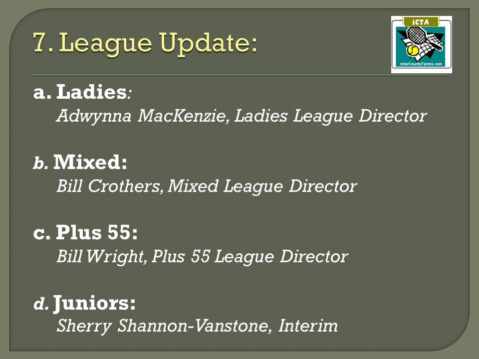 a. Ladies : Adwynna MacKenzie, Ladies League Director b.