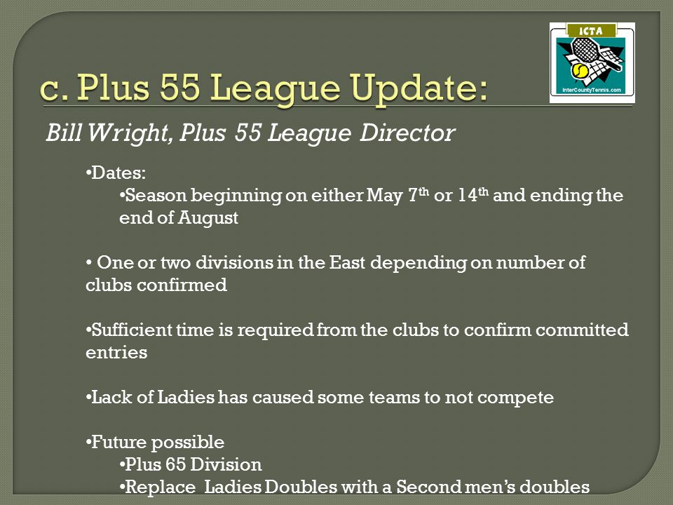 Bill Wright, Plus 55 League Director Dates: Season beginning on either May 7 th or 14 th and ending the end of August One or two divisions in the East depending on number of clubs confirmed Sufficient time is required from the clubs to confirm committed entries Lack of Ladies has caused some teams to not compete Future possible Plus 65 Division Replace Ladies Doubles with a Second men's doubles
