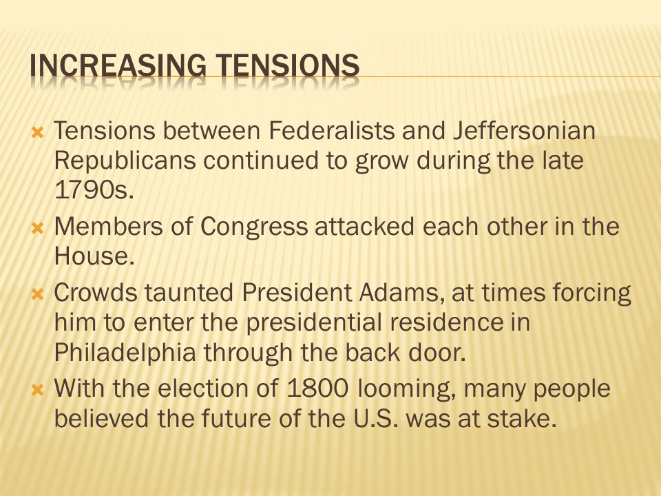  Tensions between Federalists and Jeffersonian Republicans continued to grow during the late 1790s.
