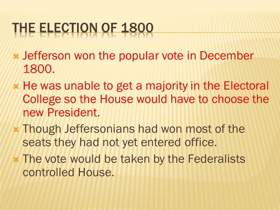  Jefferson won the popular vote in December 1800.