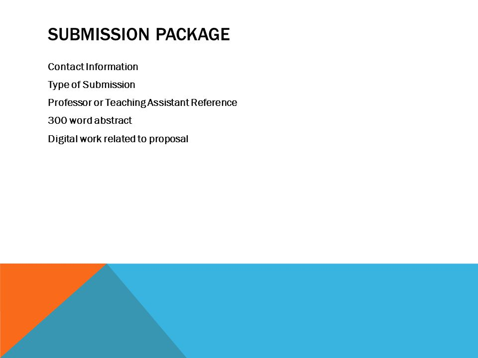 SUBMISSION PACKAGE Contact Information Type of Submission Professor or Teaching Assistant Reference 300 word abstract Digital work related to proposal