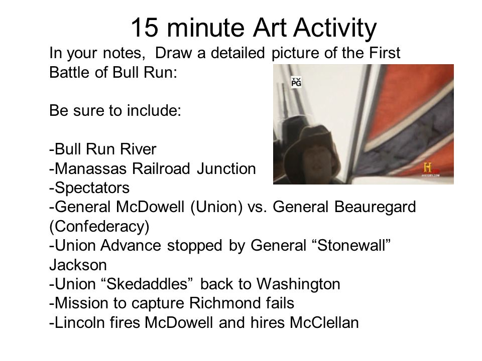 In your notes, Draw a detailed picture of the First Battle of Bull Run: Be sure to include: -Bull Run River -Manassas Railroad Junction -Spectators -G