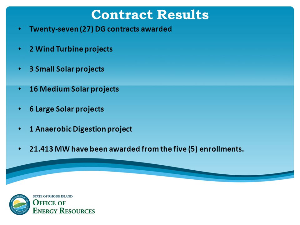 Contract Results Twenty-seven (27) DG contracts awarded 2 Wind Turbine projects 3 Small Solar projects 16 Medium Solar projects 6 Large Solar projects 1 Anaerobic Digestion project 21.413 MW have been awarded from the five (5) enrollments.