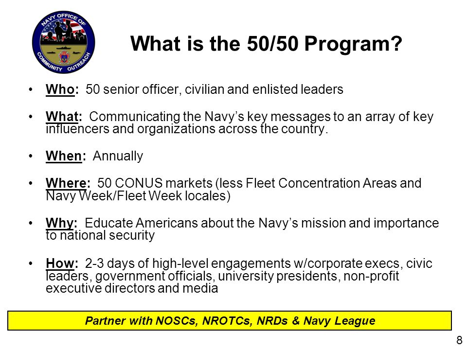 What is the 50/50 Program.